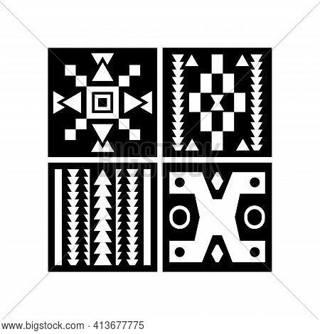 Farmhouse Decor Pattern Design Vector. Illustration Of Tribal Pattern Template Element Background