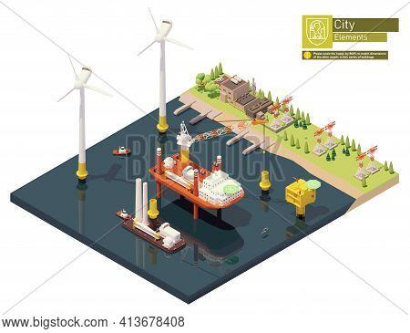 Vector Isometric Offshore Wind Farm Turbine Construction