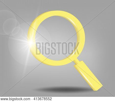 Volumetric Magnifier Icon. Research, Find Concept. 3d Vector Illustration In Yellow - Gray Colors.
