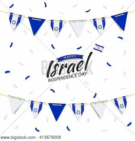 Vector Illustration Of Independence Day Of Israel. Garland With The Flag Of Israel On A White Backgr