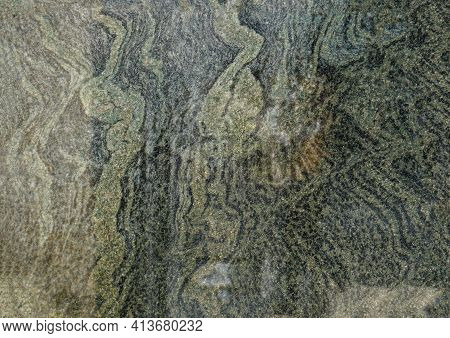 Marbled Pattern Of A Smooth Gray Stone Slab, Natural Stone Cut And Polished