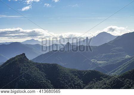 Picos De Europa Mountains Next To Fuente De Village Cantabria In Spain