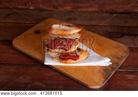 Bacon Sandwich With Thick White Bread.bread With Bacon