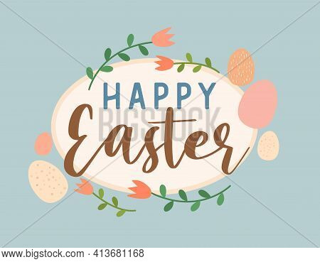 Happy Easter Cute Retro Floral Eggs Graphic Design, Blue Background With Flowers, Pretty Springtime