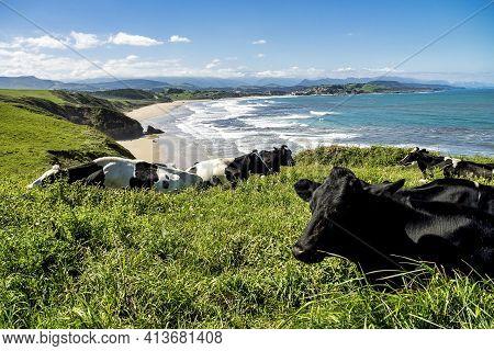 Beautiful Landscape With Beach In San Vincente De La Barquera In Spain. North Coast Of Spain. Bay Of
