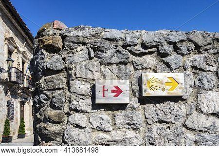Hearts On Yellow Arrow Marking Sign On St James Way, Camino De Santiago Trail Near San Vicente De La