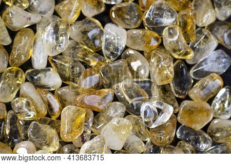 Citrine Yellow Gem Geode Crystals Geological Mineral As Nice Background Close Up Top View