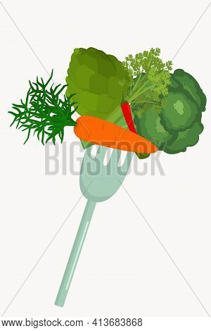 Healthy Vegetables On A Fork Isolated. The Concept Of Proper Nutrition And Diet