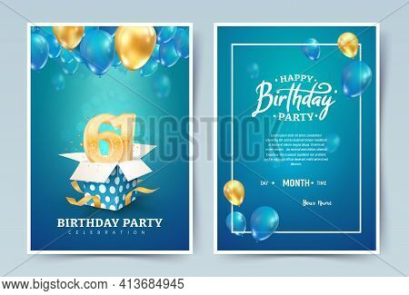 61st Years Birthday Vector Invitation Double Card. Sixty One Years Wedding Anniversary Celebration B