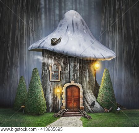 Fairy Tree House With Mushroom Hat And Old Door In Fantasy Forest