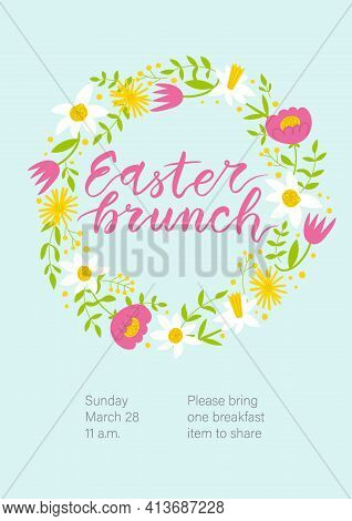 Easter Brunch Invitation. Cute Floral Wreath And Hand Written Lettering.