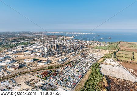 Industrial Area In Syracuse Sicily, Aerial View