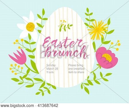 Easter Brunch Invitation. Cute Floral Egg-shaped Frame And Hand Written Lettering.