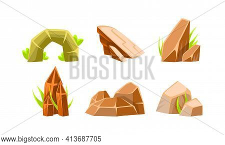 Rocks And Boulders Of Various Shapes Set, Mobile Game Ui Scenics Cartoon Vector Illustration