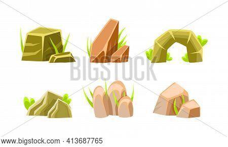 Rocks And Boulders Of Various Shapes Set, Mobile Game Nature Landscape Design Elements Cartoon Vecto
