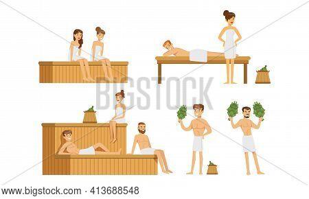 Set Of People Relaxing In Hot Sauna, Men And Women Bathing With Bath Broom In Banya Cartoon Vector I