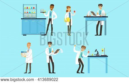Scientists Doing Experiments In Science Laboratory Set, Men And Women Chemists Characters Researchin