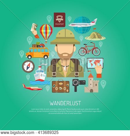 Travel Attribution Plane Ship Tent Map And Wanderlust Tourist Person Flat Color Concept Vector Illus