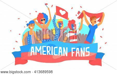 American Fans Banner Template, Happy Sport Fans In American Flag Colors Outfit Cheering For Their Sp