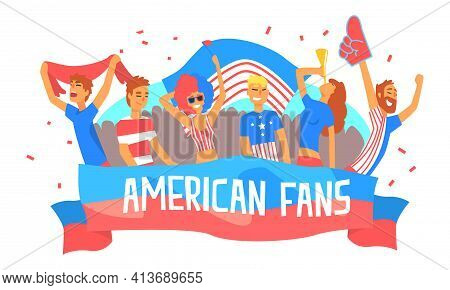 American Fans Banner Template, Happy Sport Fans In American Flag Colors Outfit Cheering For Their Te