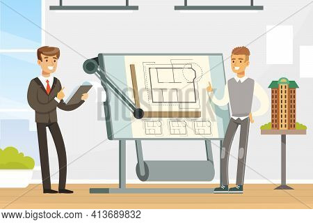 Man Architect Showing Paper Blueprint Or Draft Of Building Design Vector Illustration