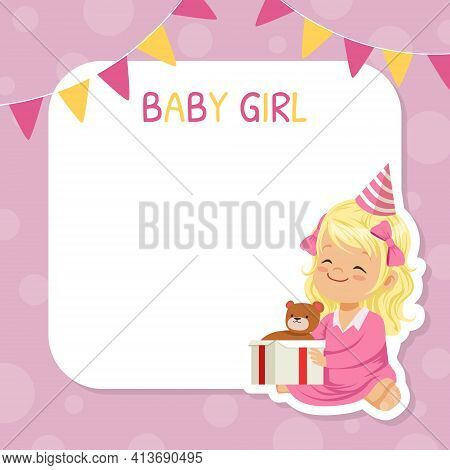 Happy Birthday Festive Card With Blond Girl In Birthday Hat Sitting With Unwrapped Gift Box And Tedd