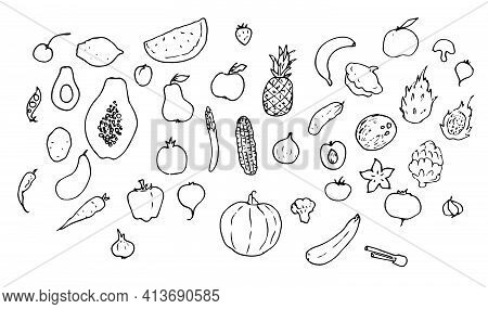Set Of Vector Isolated Elements Food Products Vegetarian Vegetables And Fruits. The Symbol Of The Ha