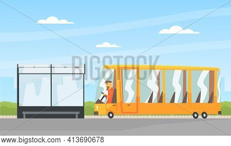 Bearded Man Driving Bus As Public Transport Along The City Road Vector Illustration