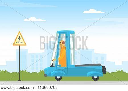 Man Driving Car Along The City Road Vector Illustration