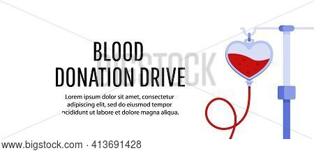 Blood Donation Day Concept With Blood Bag And Heart. World Blood Donor Day. Vector Illustrator For W