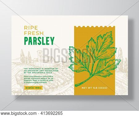 Fresh Parsley Food Label Template. Abstract Vector Packaging Design Layout. Modern Typography Banner