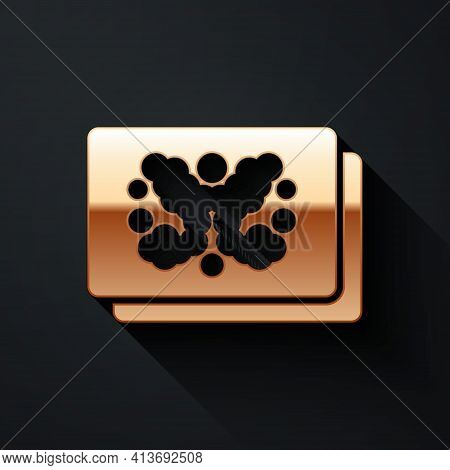 Gold Rorschach Test Icon Isolated On Black Background. Psycho Diagnostic Inkblot Test Rorschach. Lon