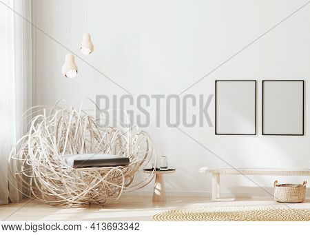Blank Frame Mock Up In Modern Interior Background, Light Beige Living Room With Stylish Armchair, Po