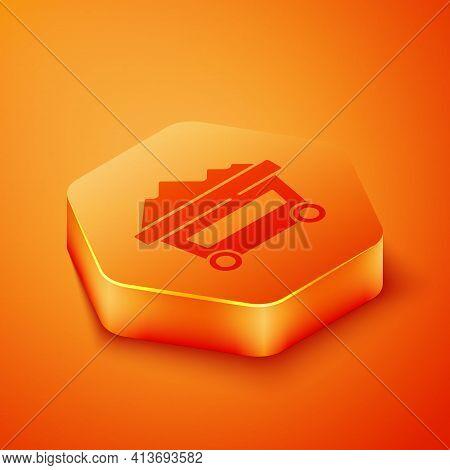 Isometric Coal Mine Trolley Icon Isolated On Orange Background. Factory Coal Mine Trolley. Orange He