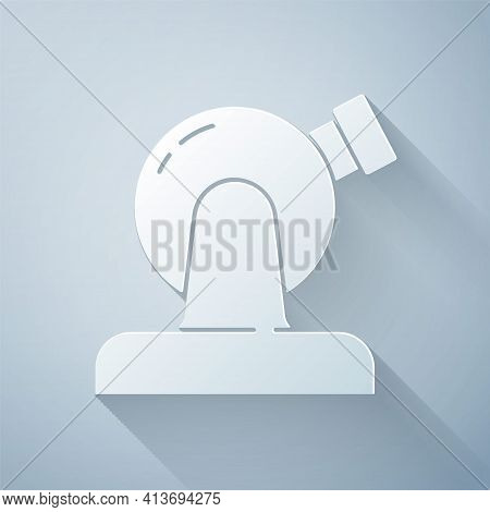 Paper Cut Astronomical Observatory Icon Isolated On Grey Background. Observatory With A Telescope. S