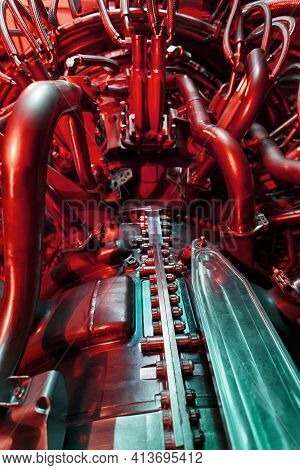 Aircraft Turbine In Industrial Design, Engine For Generating Clean Energy In A Futuristic Red-green
