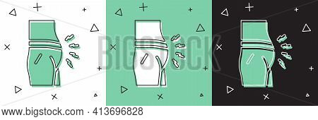 Set Abdominal Bloating Icon Isolated On White And Green, Black Background. Constipation Or Diarrhea.