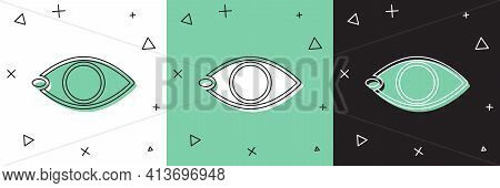 Set Blindness Icon Isolated On White And Green, Black Background. Blind Sign. Vector