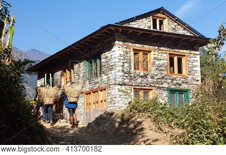 Beautiful House Home Building With Local Sherpas In Nepal, Khumbu Valley, Solukhumbu, Mount Everest