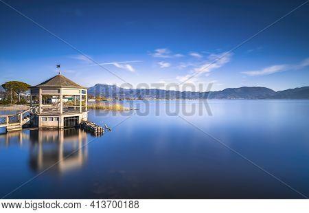 Gazebo Pier Or Jetty And Lake At Sunrise. Torre Del Lago Puccini, Versilia, Massaciuccoli Lake, Tusc