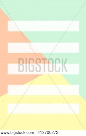 Five Rectangular Cards Made Of White Paper With A Dotted Border And One Rectangular Card On A Three-