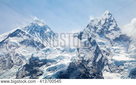 View Of Top Of Mount Everest And Nuptse With Clouds From Kala Patthar Way To Mount Everest Base Camp