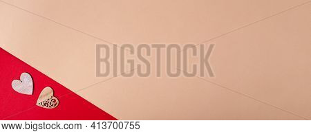 Beige Horizontal Banner With Wooden Hearts On Red Background