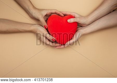 Lgbt Concept. Women Hands Holding Red Heart
