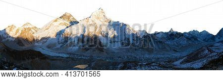 Evening Panoramic View Of Mount Everest Isolated On White Sky Background From Kala Patthar, Sagarmat