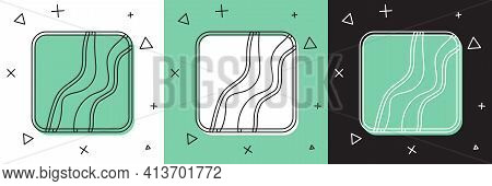 Set Snake Paw Footprint Icon Isolated On White And Green, Black Background. Vector