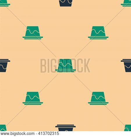 Green And Black Pudding Custard With Caramel Glaze Icon Isolated Seamless Pattern On Beige Backgroun