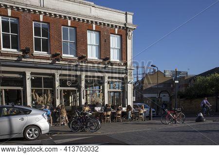 London, Uk - 20 September 2020, Cafe, Restaurant On Broadway Street In East London. People Have Lunc