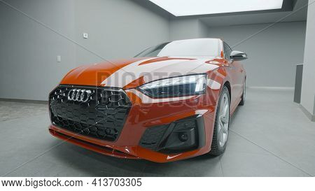 Germany, Berlin - March 2021: New Car In Car Dealership. Action. Stylish Exterior Design Of New Car