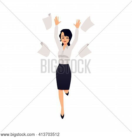 Cheerful Business Woman Or Company Executive Flat Vector Illustration Isolated.